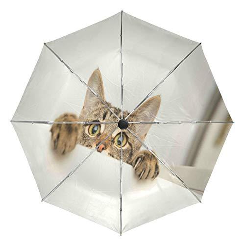 Wamika Regenschirm mit niedlichem Katzen-Motiv, winddicht, wasserfest, UV-Schutz, Reise-Regenschirm, 3 Falten, automatisches Öffnen/Schließen, für Sonne und Regen