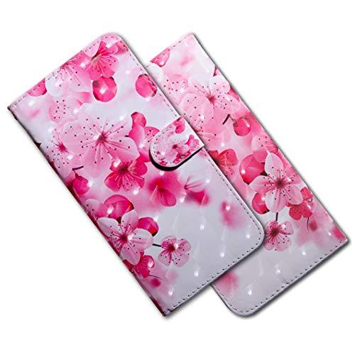MRSTER LG Q60 Handytasche, Leder Schutzhülle Brieftasche Hülle Flip Hülle 3D Muster Cover mit Kartenfach Magnet Tasche Handyhüllen für LG K50 / LG Q60. BX 3D - Pink Cherry