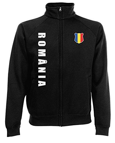 AkyTEX Rumänien Romania EM-2020 Sweatjacke Wunschname Wunschnummer Schwarz S