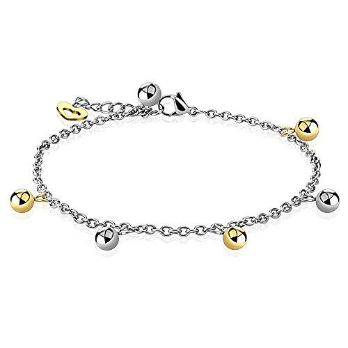 Bungsa bedelarmband zilver met kogel kralen en gouden hart charm voor dames (roestvrij stalen armband damesarmband herenarmband bracelet chirurgisch staal sieraden)