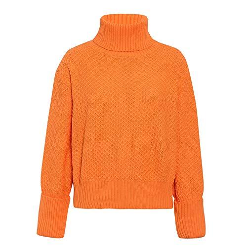 Oranje Coltrui Gebreide Vrouwen Trui Lange mouwen Herfst Winter Vrouwelijke Trui Jumper