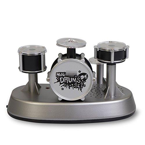 Grinscard Elektrisches Fingerschlagzeug mit Aufnahme und Spielmodus - Grau - Mini Schlagzeug für Kinder und Musikfans