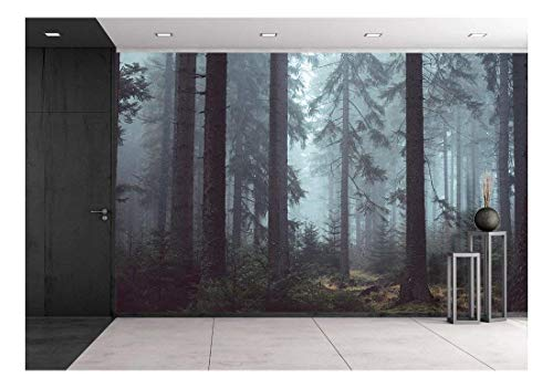 wall26 Foggy Pin Forest - Removable Wall Mural | Self-Adhesive Large Wallpaper - 100x144 inches