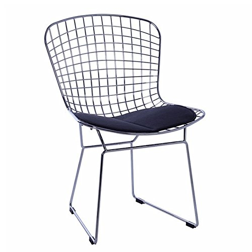 Sillatea Silla Wire Style Bertoia - Estructura Metal - cojín Negro