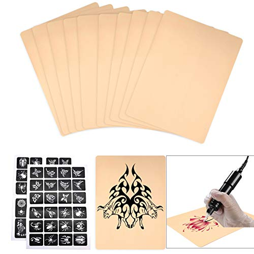 YLX Pelle per Tatuaggi, 10pcs Pelle Bifacciale Practice con 2 Modelli di Tatuaggio per Principianti ed Esperti Tatuatori (12Pcs)