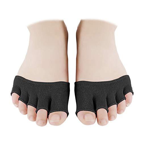 EXCEART 4 Paare Zehlinge Füßlinge Socken öffnen fünf halbe Zehensocken Unsichtbare Sportsocken Yoga Socken Vorfußsocken Frauen Rutschfeste Pilates Balletttanz Zehenschutz - Schwarz