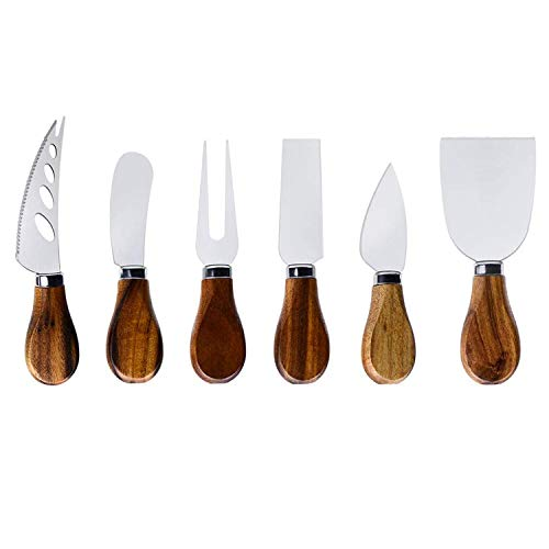 Cheese Knives with Cheese Slicer Cheese Cutter Cheese ForkCheese Spreading Knife for Charcuterie Boards and Cutlery Gift Set6 Pieces Cheese Knife Set with Bamboo Wood Handle Steel Stainless