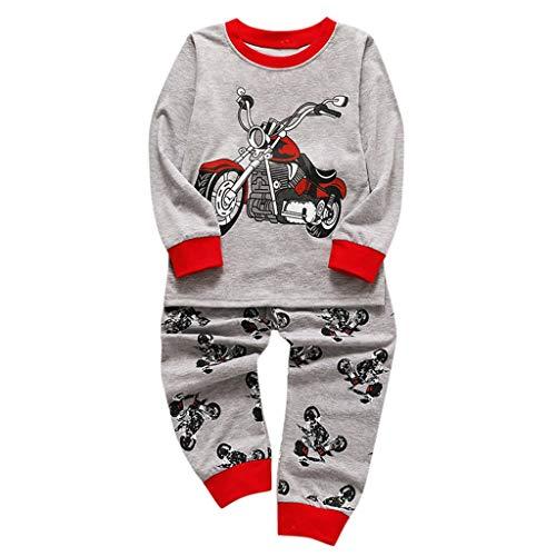 PinkLu Camiseta De Manga Larga con Estampado De Motos De Dibujos Animados para NiñOs Pantalones Conjunto De Dos Piezas Pijamas De Servicio A Domicilio Ropa con De Trajes (4~5 años/130~140cm, Gris)