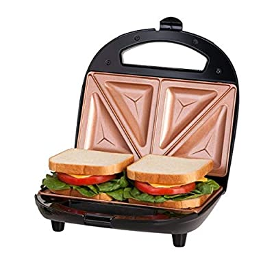 GOTHAM STEEL 2108 Maker, Toaster and Electric Panini Grill with Ultra Nonstick Copper Surface Makes 2 Sandwiches in Minutes with Virtually No Clean Up, Seals, Large