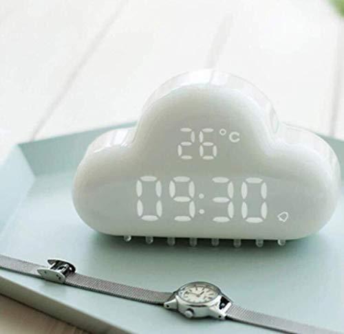 WHSS Nube Despertador Control Inteligente Led Snooze Pequeño Despertador Pantalla de Temperatura Carga USB Reloj (Color : Green)
