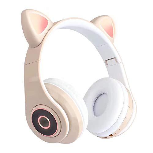 QTER Audífonos inalámbricos Bluetooth 5.0, lindos auriculares Bluetooth con micrófono, luz intermitente LED, inalámbricos, plegables
