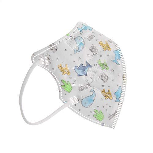 TBOC FFP2 Masken - [Pack 10 Einheiten] Einwegmasken [Kleine Größe] [Meerestiere] 5 Schichten [Nicht Wiederverwendbar] Atmungsaktives Falten mit Nasenklemme [Zertifiziert und Genehmigt CE 0370]