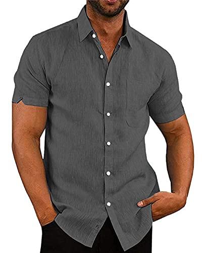 AUDATE Herren Hemd Kurze Ärmel Loose Fit Shirts Hemden Freizeithemd Top Grau XL