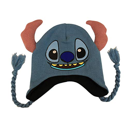 Concept One Disney Lilo and Stitch Acrylic Winter Beanie with Tassels, Light Blue, One Size