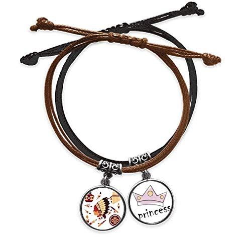 BestchongIndian Feather Headdress Traditional American Bracelet Rope Hand Chain Leather Princess Wristband