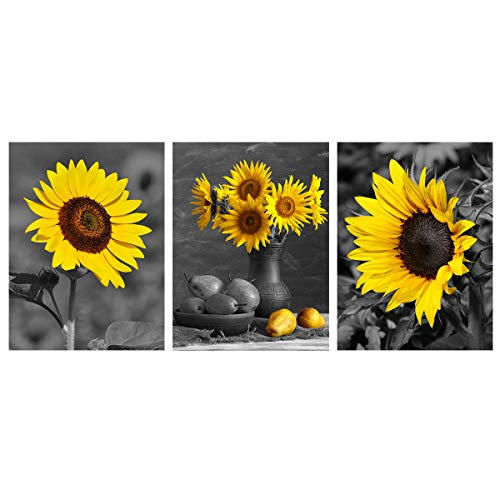 Black Yellow Sunflower Wall Art Modern Floral Poster Flowers Canvas Painting Home Office Decor Decoration For Living Room Kitchen Bedroom Picture Giclee Print Artwork 3 Panels 12x16 Unframed Buy Online