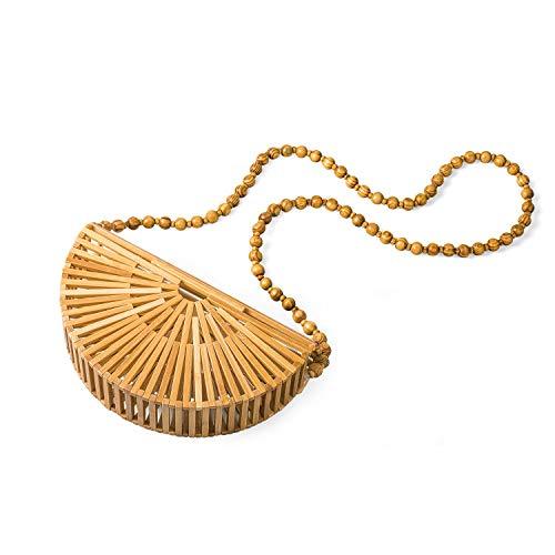 Cool Design Damen Bambus Tasche Halbrunde Umhängetaschen Bambus Geldbörse Stroh Strandtasche Umhängetasche Summer Beach Damen Geschenke