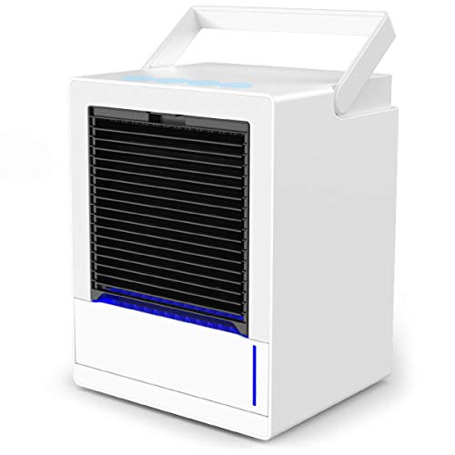 Mobile Klimageräte mini, infray mobile Klimaanlage, Verdunstungskühler mit 5000mAh Akku, 7 Farben LED, air cooler mini Oszillation 90°, Luftkühler, Luftbefeuchter, 350ML Wassertank 3 Stufen