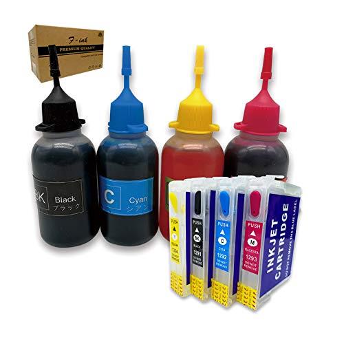 Kits de Recambio de Tinta Recargable compatibles con T1295 Ink,Work with BX535WD BX625FWD BX630FW BX635FWD BX925FWD BX935FWD WF-7015 WF-7515 WF-7525 WF-3520DWF WF-3010DW WF-3540DTWF WF-3530DTWF