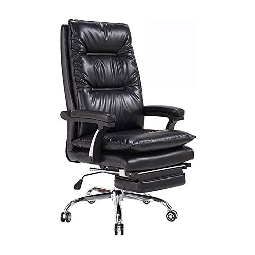 ZXNRTU Relájese cómodamente seguro Silla de oficina de cuero reclinable de la silla del jefe - Silla ejecutiva de la espalda alta - Cojín de asiento grueso - altura de asiento ajustable ergonómico y r