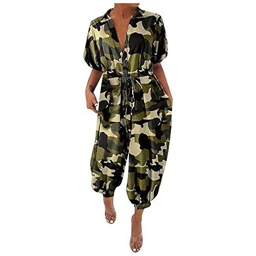 MGHH Mono femenino retro de camuflaje, manga corta, botón, holgado, pantalones anchos, Verde militar., S