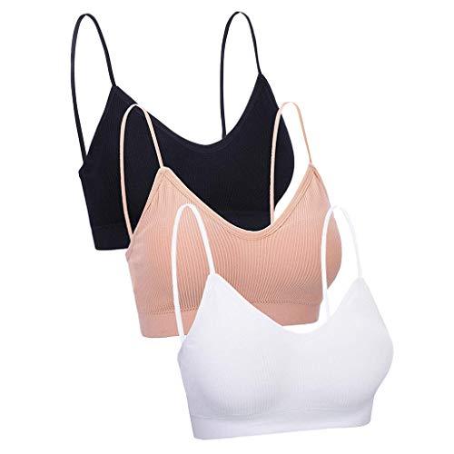 3/4/6 piezas Camisola Bralettes para mujeres y niñas con cuello en V sin costuras, sujetador deportivo de color sólido con almohadillas extraíbles KaloryWee