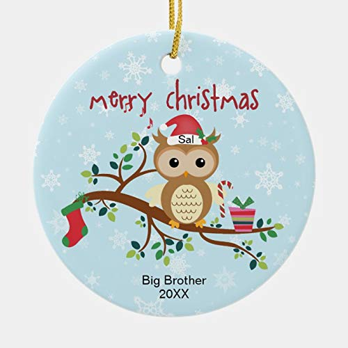Big Brother Owl in The Tree Christmas Ornament Personalized 3 Ihch Ceramic Ornament Christmas Tree Decration