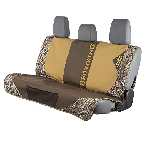 Browning Camo Bench Dog Seat Cover, Protective Vehicle Bench Seat Cover, Shadow Grass Blades