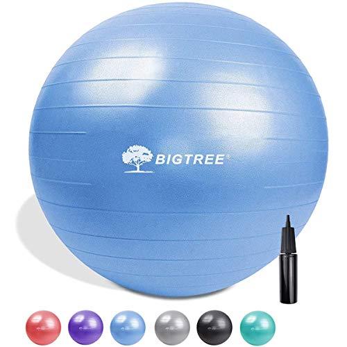 BIG.Tree - Silla de pelota de ejercicio extra gruesa para yoga, bola de estabilidad resistente y antiráfaga, bola de nacimiento con bomba rápida (azul, 55)