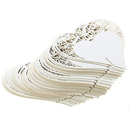 Tarjetas de felicitación para boda, diseño de corazón floral, copas de vino, 50 unidades