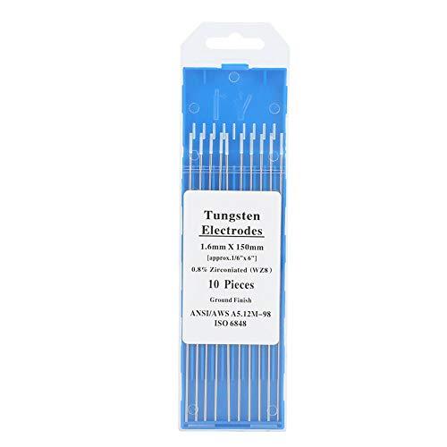10Pcs TIG Soldadura Electrodos de Tungsteno 0.8% Zirconiate 1.0/1.6/2.4/3.2mm WZ8 Punta Blanca...