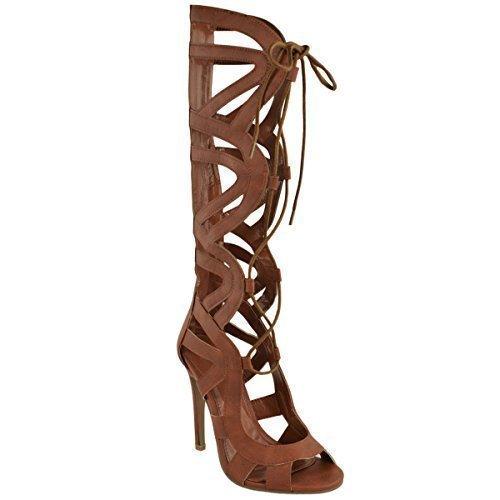Sandali da donna Gladiator con cavità a forma di tacco altezza scarpe, al ginocchio con lacci, (Weiß Kunstleder), 36