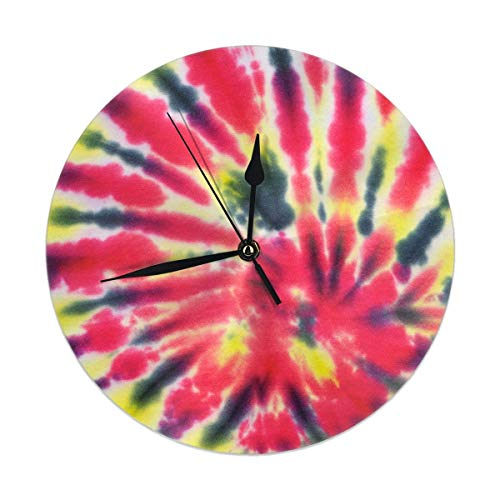 Mesllings Close Up Shot of Tie Dye - Reloj de pared redondo con textura de tela para decoración del hogar, sala de estar, cocina, dormitorio, oficina, escuela, 25 cm