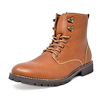 Bruno Marc Men s Brown Oxford Dress Ankle Boots Faux Fur Lining Motorcycle Boots Stone-01 Size 9 M US