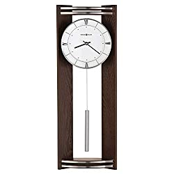 Howard Miller Deco Wall Clock 625-695 – Black Coffee Finish, Angled Side Panels, Glass Crystal, Silver Finished Cylindrical Pendulum Bob, Quartz Movement