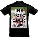 T-Shirt Bedrucken mit eigenem Bild oder Text, T Shirt drucken, Tshirt drucken Lassen, Tshirt Designer, T-Shirt selbst gestalten, T-Shirt Druck. (schwarz, L)