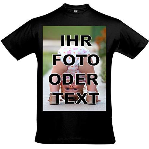 T-Shirt Bedrucken mit eigenem Bild oder Text, Tshirt Designer, T-Shirt selbst gestalten, T-Shirt Druck. (schwarz, L)