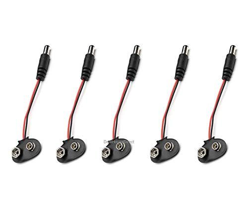 2x 5x 10x PP3 9V cavo di alimentazione della batteria - 9V PP3 clip di batteria a 2,1 millimetri DC presa jack per Arduino CCTV Elettronica del veicolo ( pacchetto di 5) - HAYATEC