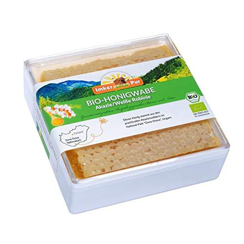 ImkerPur BIO-Honigwabe in der lebensmittelechten Frischebox (Akazie / Weiße Robinie), 400 g