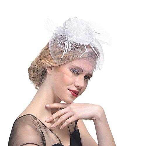 JINTN JINTN Damen Feder Fascinator Hut mit Haar Clip, Patei Blumen Mesh Bänder Kopfschmuck, Party Headwear Haarschmuck, Hochzeit Hut Stirnband Kopfbedeckung für Party Kirche Hochzeit, Weiß, Einheitsgröße