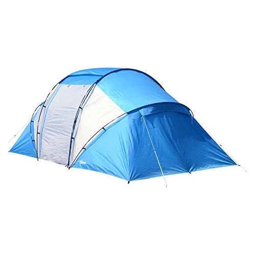 Outsunny Campingzelt Familienzelt Tunnelzelt mit 2 Schlafkabinen 4-6 Personen Blau L460 x B230 x H195cm