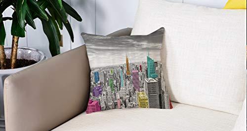 Mingdao Square Soft and Cozy Pillow Covers,Cityscape by, NYC New York City Skyline Panoramic Picture, Teal and Dimgray,Funda para Decorar Sofá Dormitorio Decoración Funda de Almohada.