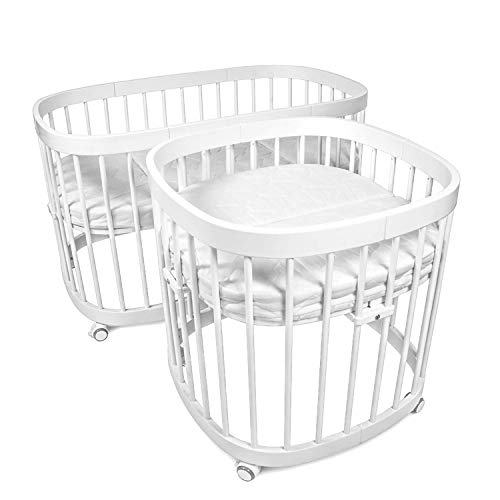 tweeto Babybett Kinderbett Baby 7-in-1 KOMPLETT-SET - erweiterbar 7 Funktionen inkl. 3-tlg. Matratze Design (weiß)