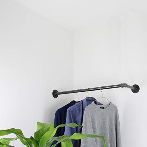 Natural Goods Berlin 1x Eckgarderobe Pipe Gard Corner | Temperguss Kleiderstange Decke Vintage Kleiderständer L-Form Wandmontage Kleiderschrank | Wasserrohre Fitting | DIY (B120 x T30cm, Industrial)