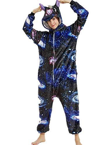 Amenxi Kostüm, Einhorn, Tier, Unisex, Cosplay, Halloween, Erwachsene, Damen, Herren, Overall für Nachtwäsche, Pyjama Gr. L, Universe2 Unicorn