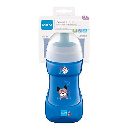 MAM Sports Cup (330 ml), antigoteo con válvula de autoapertura, vaso para niños con agarre antideslizante, a partir de 12 meses, perro