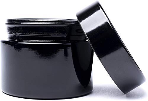 LiTT Stash Opbergpot - Zwart, Luchtdichte UV-glazen pot voor kruidenopslag, geur/geurbestendig, navulbare kruidencontainer. Roken Accessoires 50ml Discreet