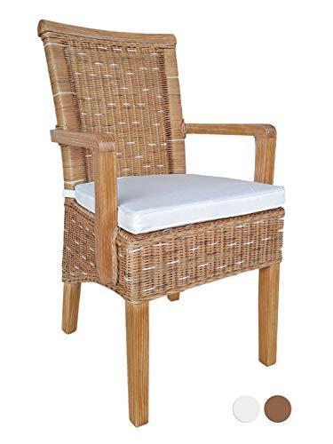 casamia Esszimmer-Stuhl mit Armlehnen Rattanstuhl braun Perth mit/ohne Sitzkissen Leinen weiß Farbe ohne Sitzkissen