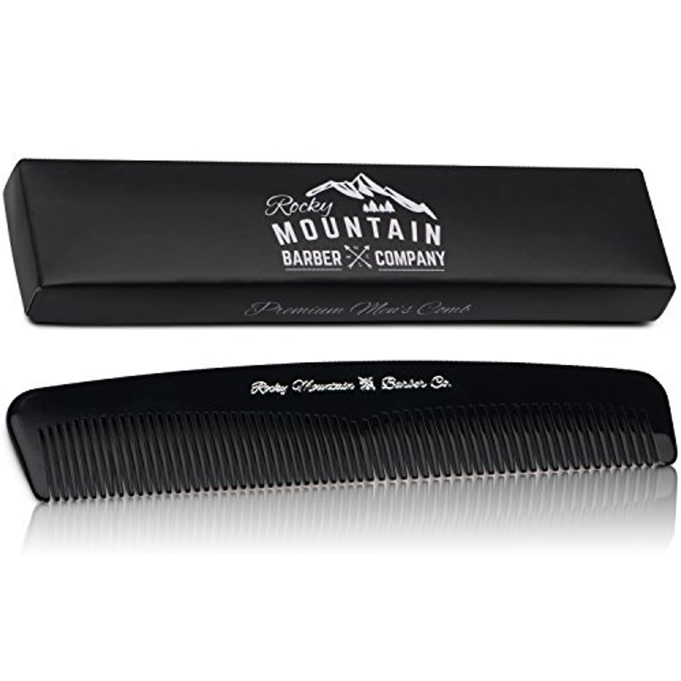 たらい静かに気難しいMen's Hair Comb ? Plastic Modern Fine and Medium Tooth Comb Handmade for Head Hair, Beard,  Mustache - No Snag, Barber Grade Performance in Gift Box by Rocky Mountain Barber Company [並行輸入品]