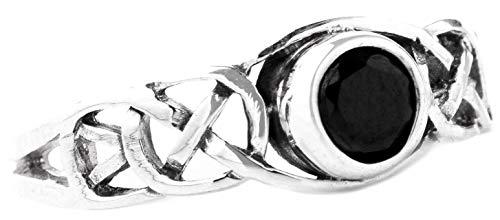 WINDALF Keltischer Damenring TÂMIA 6 mm Schwarzer Kristall Verlobungsring 925 Sterlingsilber (Silber, 64 (20.4))